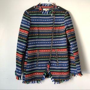 Aniina Southwestern Aztec Zipper Fringe Hem Jacket